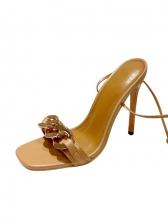 Square Toe Lace Up Women Heel Sandal