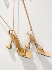 Goblet Heel Square Toe Women Sandal