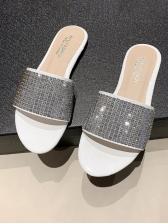 Summer Sequined Flat Outdoor Ladies Slippers