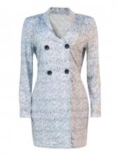 Fashion Button V Neck Long Sleeve Bodycon Dress