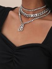 Hip Hop Punk Full Rhinestone Layered Necklace