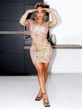 Printing Novelty Design Long Sleeve Bodycon Dress