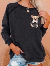 Crew Neck Animal Print Women Sweatshirt