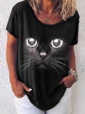 Simple Design Animal Print Short Sleeve T-Shirt