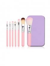 Portable Pink Color Makeup Brush 7 Pieces