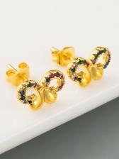 Fresh Colourful Butterfly Zircon Earrings Women