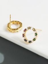 Fashion Round Design Zircon Stud Earrings