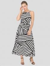 Striped Casual Vacation Sleeveless Maxi Dress