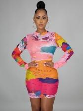 Casual Print Long Sleeve Short Dress