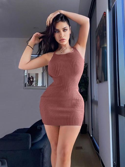 New Solid Knitting Backless Mini Dress