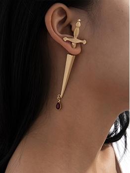Sword Hilt Shape Street Trendy Cool Solid Earrings