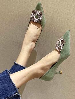 Pointed Toe Rhinestone Heels For Women