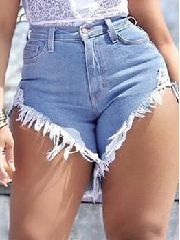 High Waist Ragged Hem Denim Hot Pants