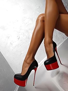 Night Club Contrast Color Round Toe Platform Heels