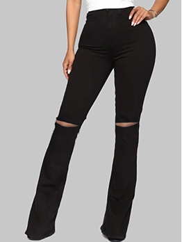 Holes High Rise Bootcut Jeans For Women