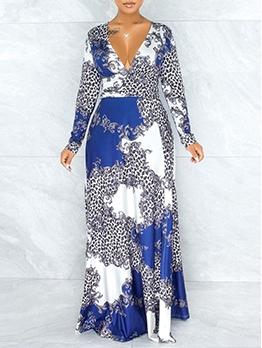 V-neck Contrast Color Printed Long Sleeve Maxi Dress