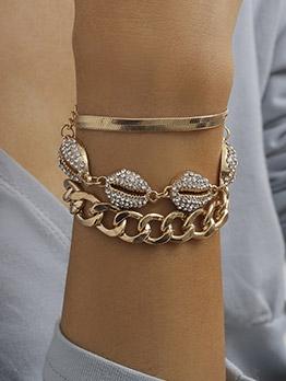 Shell Shape Design Rhinestone Bracelet Women