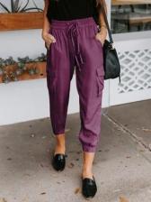 Pure Color Pockets Drawstring Cargo Pants