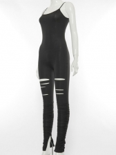 Hollow Out Spaghetti Strap Black Jumpsuit