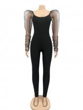 Puff Sleeve Scoop Neck Bodycon Jumpsuit