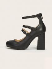 Round Toe Chunky Heel Solid Women Heels