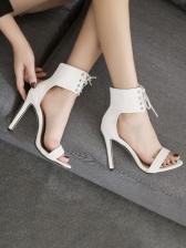 Round Toe High Heel Womens Sandals