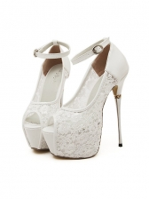 Peep-Toe Lace Patchwork Platform Sandals