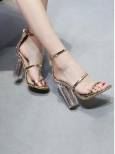 Chic Clear Heel Round Toe Summer Sandals