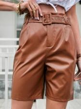 Street Wear Pu Half Length Pants For Women