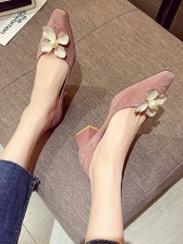 Flower Patchwork Chunky Heels For Women