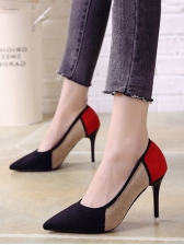 Color Block Pointed Toe High Heel Shoes