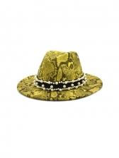 Snake Print Retro Style Jazz Felt Hat