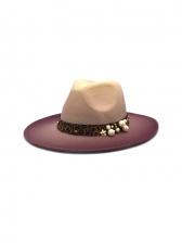 Contrast Color Faux-Pearl Design Fedora Hat