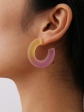 Simple Gradient Color C-Shape Acrylic Earrings