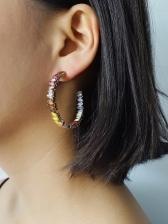 Colourful Rhinestone C-Shape Fashion Stud Earrings