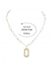 Letter Pendant Faux-Pearl National Necklace