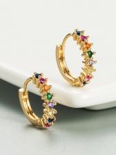 Hip Hop Colourful Zircon Geometry Earrings