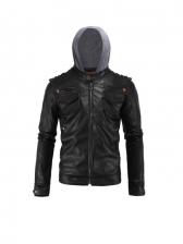 Fashion Black Hooded Motorcycle Jackets
