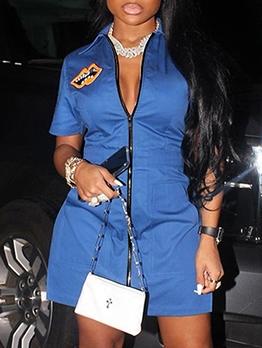 Printed High Split Zipper Up Short Sleeve Dress