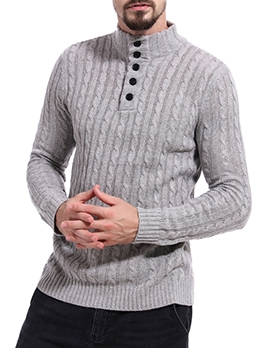 Winter New Solid Mock Neck Sweater