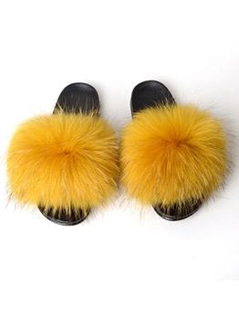 Open Round Toe Women Fluffy Womens Slippers