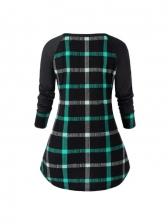 Plaid Long Sleeve Plus Size Dresses