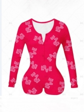 Printed Long Sleeve Lounge Rompers For Women