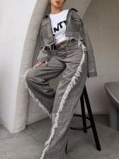 Boutique Streetwear Tassel Denim Two Piece Outfits