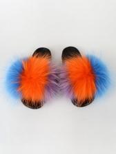 Fashion Color Block Plush Womens Slippers