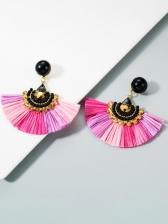 Tassel Fan Shape Rhinestone Vintage Earrings