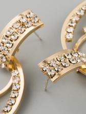 Geometry Retro Rhinestone Versatile Earrings Ladies