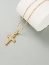 Plain Hip Hop Zircon Cross Pendant Necklace