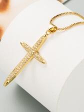 Rhinestone Simple Versatile Cross Pendant Necklace