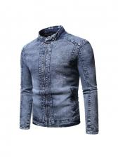 Solid Plush Long Sleeve Denim Mens Coat